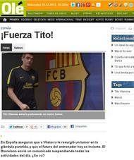 La prensa internacional se hace eco de la recaída de Tito Vilanova