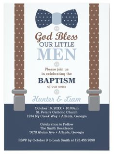 Twin Little Men Baptism Invitation, Baptism Invitation for Twin Boys, Blue and Brown