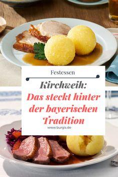 Kirchweih ist ein toller Anlass für ein Festessen, bei dem Knödel eine tragende Rolle spielen. Hier haben wir alles (kulinarisch) Wissenswerte zum traditionellen Festtag zusammengetragen. Angels, Creative, Bavarian Food, Dumpling Recipe, German Cuisine, Traditional, Playing Games, Angel, Angelfish