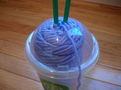 Great to keep the yarn clean and easy to carry any where...especially in the car in the cup holder.