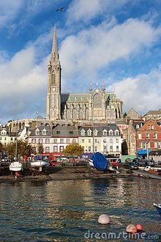 Harbour and St Colman's Cathedral. Cobh, County Cork, Ireland