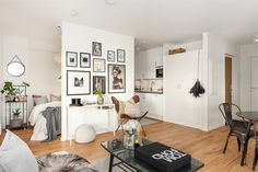 Great studio apartment layout (hoping there's another wall between the bed & the kitchen