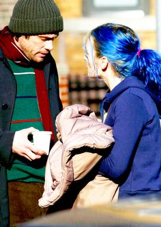 Jim Carrey and Kate Winslet on the set of Eternal Sunshine of the Spotless Mind
