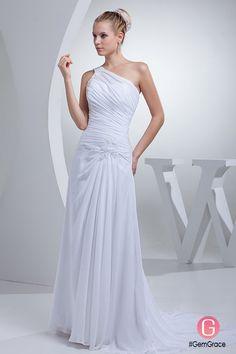 fa774a4eab8 One Shoulder Greek Style Pleated Long Wedding Dress  OP4434  164.3 -  GemGrace.com