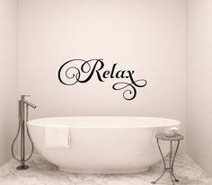 Relax Wall Decal Bathroom Vinyl Words Decor