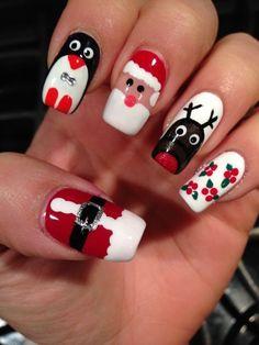 37 Shinning and Beautiful Christmas Nails You Have to See nails, nail design, Christmas nails,Festival nails Diy Christmas Nail Art, Christmas Nail Art Designs, Holiday Nail Art, Winter Nail Art, Best Nail Art Designs, Halloween Nail Art, Winter Nails, Christmas Ideas, Christmas Design