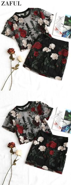 Floral Embroidered Mesh Blouse and Skirt Set Floral Dress Outfits, Black Dress Outfits, Casual Skirt Outfits, Summer Dress Outfits, Stylish Outfits, Spring Outfits, Dress Summer, Jumpsuit Dressy, Dressy Shorts