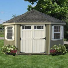 5 Sided Colonial Garden Shed by Little Cottage, Affiliate item posted by MPG Shed Landscaping, Backyard Sheds, Outdoor Sheds, Outdoor Spaces, Outdoor Men, Landscaping Company, Backyard Studio, Luxury Landscaping, Pergola Garden