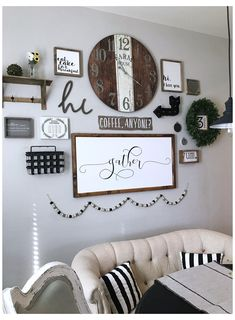 Family Room Walls, Family Wall Decor, Dining Room Wall Decor, Farmhouse Wall Decor, Room Decor, Modern Farmhouse Gallery Wall, Wall Clock Decor, Rustic Gallery Wall, Kitchen Gallery Wall