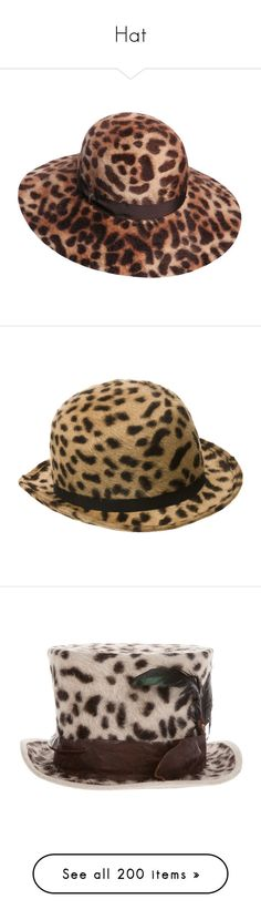 """Hat"" by olivia-richter ❤ liked on Polyvore featuring accessories, hats, leopard, rabbit fur hat, rabbit hat, leopard hat, leopard print hats, rabbit felt hat, animal print and chapeus"