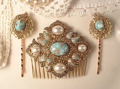 SET True Vintage Turquoise & Ivory Pearl Gold Bridal Hair Comb and Pins, Art Deco Antique Gold Heirloom Aqua Brooch to OOAK Hair Comb Set