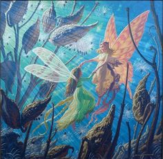 """""""Fairy Folk"""" by Tim Hildebrandt from the 1984  """"Realms of Wonder"""" Calendar. Acrylic on masonite. This is a new photo taken from the original painting. (OA).  See more Tim Hildebrandt art at timhildebrandt.net!"""