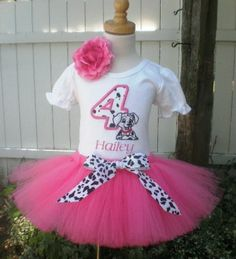 PERSONALIZED 101 Dalmatians Hot Pink Birthday Number Tutu Outfit-Disney themed birthday party, animal print, tutu outfit, 101 dalmatian birt...