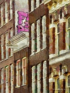 HIGH GRAFFITI – European cities are a unique blend of old and new. High-tech Wi-Fi invisibly covers the interiors of almost all buildings while high above in Amsterdam Street contemporary graffiti peeks out from a small space in a row of old traditional buildings. The world is full of delightful visual surprises. Painting by artist Richard Neuman represented by Two Bananas Art. Giclee $21.00 #photopainting #graffiti #europe #streetart #travelpainting #impressionism