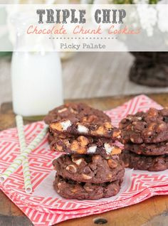 Triple Chip Chocolate Chunk Cookies