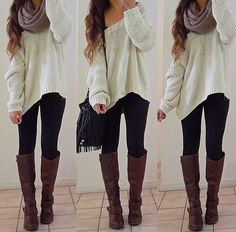 Cute sweater with leggings,boots,& scarf