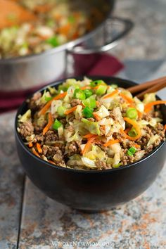 This Healthy Egg Roll in a Bowl (aka Crack Slaw) has all of the great flavor of Egg Rolls, but it's sure to please. Easy One Pan Meal with all the taste, but without the fuss and carbs of traditional egg rolls! Get the recipe: Egg Roll In A Bowl Egg Roll Recipes, Paleo Recipes, Low Carb Recipes, Dinner Recipes, Easy Recipes, Snack Recipes, Keto Cabbage Recipe, Cabbage Recipes, One Pan Meals