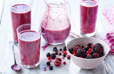 This gorgeous frozen fruit smoothie is thick and creamy and is dairy-free! Learn how to make this fruity smoothie on Tesco Real Food Frozen Fruit Smoothie, Berry Smoothie Recipe, Smoothie Recipes For Kids, Juice Recipes, Drink Recipes, Vegan Recipes, Nutritious Smoothies, Yummy Smoothies, Healthy Juices