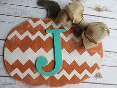 Fall Door Hanger Distressed Chevron Pumpkin Thanksgiving decorations Halloween Door Hanger Fall Wall Hanger Wall Letter Initial Monogram by SouthernMadeSigns on Etsy https://www.etsy.com/listing/250343372/fall-door-hanger-distressed-chevron