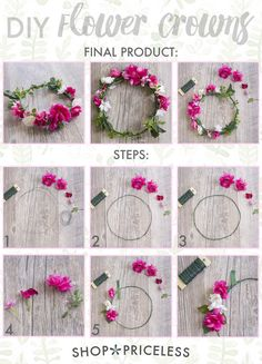 DIY Flower Crown This may be one of the simplest crafts I've ever done! It was super easy and lots of fun, and the best part is that you can make so many different variations of it! It would be a great craft for you and your girlfriends before you hit music festivals this season, so read on to learn how you can make your own flower crown . . . Want great tips and hints about arts and crafts? Go to this fantastic site!