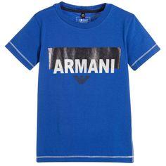 Armani Junior - Blue T-shirt Boy Blue, Kids Online, Emporio Armani, Boys, Happy, Clothing, Mens Tops, T Shirt, Gifts