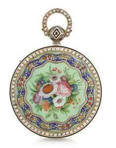 SWISS,A YELLOW GOLD, ENAMEL AND PEARL OPEN-FACED CENTRE SECOND, QUARTER REPEATING WATCH MADE FOR THE CHINESE MARKET, CIRCA 1840