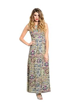 2LUV Womens Sleeveless Geo Print Maxi Dress W Caged Neckline Green  Blue M