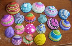 Shells I painted this weekend for a springtime basket. Patricia Huff