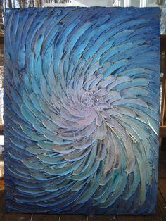 SALE 30 x 40 Original Abstract Texture Modern Blue by artoftexture