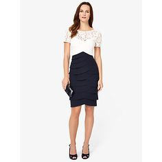 Buy Phase Eight Evie Lace Dress, Navy/Ivory Online at johnlewis.com