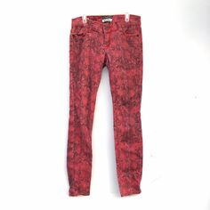 Red Snakeskin Print Skinny Jeans Gorgeous and unique jeans, a little faded but in otherwise good condition. Jeans Skinny