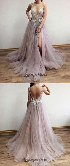 V Neck Beads Tulle Long Long Prom Dresses, Evening Dresses,PD4558956 #promdresses #fashion #shopping #dresses #eveningdresses