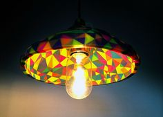 daniel hilldrup 3D prints triangulated multi-colored lampshades
