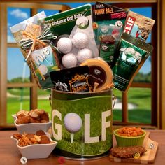 Fore! Golfers Gift Pail | Buy at All About Gifts & Baskets (http://www.aagiftsandbaskets.com/fore_golfers_gift_pail.html)