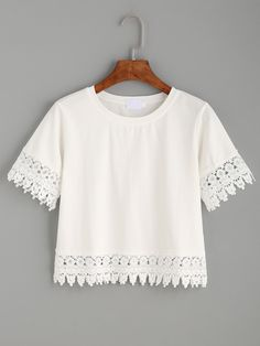 Shop White Crochet Trim Crop T-shirt online. SheIn offers White Crochet Trim Crop T-shirt & more to fit your fashionable needs. Girls Fashion Clothes, Teen Fashion Outfits, Look Fashion, Trendy Outfits, Cute Outfits, Fashion Dresses, Cropped White Shirt, White Short Sleeve Shirt, Long Sleeve Crop Top