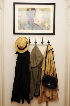 Entrance, like the picture above the coat rack, could be even better with small shelf atop the hooks, and a rail below for shoes
