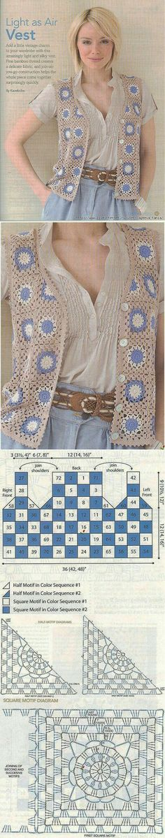 Transcendent Crochet a Solid Granny Square Ideas. Inconceivable Crochet a Solid Granny Square Ideas. Gilet Crochet, Crochet Vest Pattern, Crochet Coat, Crochet Jacket, Crochet Cardigan, Crochet Motif, Crochet Shawl, Crochet Designs, Crochet Clothes