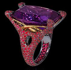"""Mousson Atelier New Age Collection """"""""Sabre"""""""" Gold 750 Amethyst and Ruby Ring featuring 36.85ct Amethyst and 5.43ct Ruby; 25.16g total weight"""