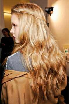 Hair @ Gucci fall 2012- Love the natural wave look! As well as the twisted side pieces pinned back! Great for fall :)