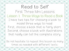 School Is a Happy Place: The Daily Five: The Big Three (Mini Lessons to Launch Read to Self and a FREEBIE) First Day Activities, Word Work Activities, Read To Self, Daily Five, Inquiry Based Learning, Third Grade, Grade 2, Balanced Literacy, Teaching Style