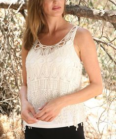Love this Beige Fringe Crocheted Sleeveless Top by Ananda's Collection on #zulily! #zulilyfinds
