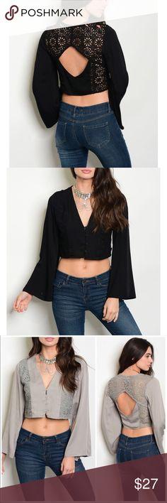 2d5f1c76bc2 ❗️CLOSING SALE❗ Black Crochet Long Sleeve Top Black Crochet Detail Long  Sleeve Crop