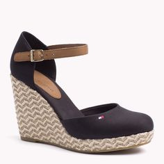 Classic cotton espadrille with leather detailing. Rubber finish on the sole for comfort and grip. Zapatos Tommy Hilfiger, Mode Tommy Hilfiger, Tommy Hilfiger Fashion, Hot Shoes, Crazy Shoes, Blue Shoes, Me Too Shoes, Wedge Sandals, Wedge Shoes