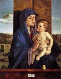 BELLINI, Giovanni Italian painter, Venetian school (b. ca. 1426, Venezia, d. 1516, Venezia)  Madonna and Child 1480-90 Oil on panel, 83 x 66 cm Accademia Carrara, Bergamo