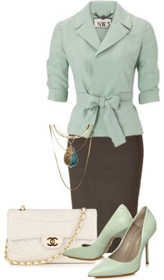 Mint Green White Brown Outfit