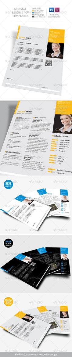 minimal resume   cv set  graphicriver simple  neat and  u201cto