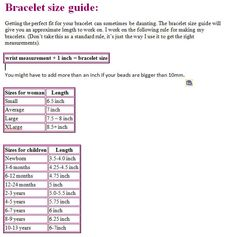 Size Chart For ChildrenS Jewelry    Pinteres