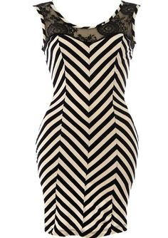 Chevron racer dress with lace back