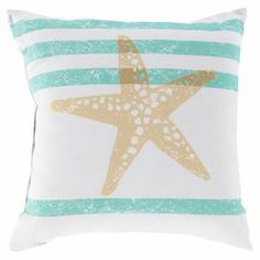 Stencilling Ideas - Showcasing starfish and striped motifs in moss and lime, this lovely pillow brings a touch of coastal charm to your living room or den.