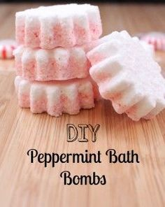 DIY Peppermint Bath Bombs - great holiday gift!   Can be made using Young Living Essential Oils: